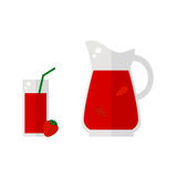 草莓在白色背景隔绝的汁象 免版税库存照片