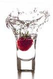 草莓射击飞溅 库存照片