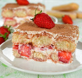 草莓提拉米苏 图库摄影