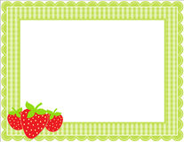 草莓方格花布框架 免版税库存照片