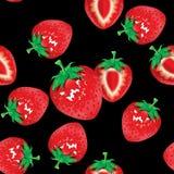 草莓无缝的样式有黑背景 库存照片