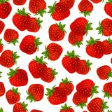 草莓无缝的样式 免版税库存图片