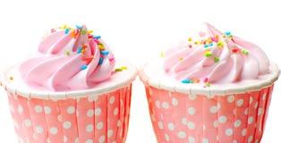 草莓杯蛋糕 库存照片