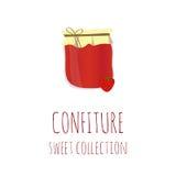 草莓果酱瓶子,蜜饯美好的收藏,设计的元素 免版税库存图片