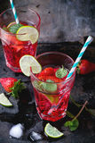 草莓柠檬水 免版税库存图片