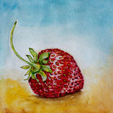草莓水彩 图库摄影