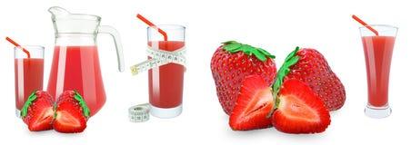 草莓汁和米 免版税库存图片