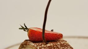 草莓片断在白色打好的香草奶油的 关闭切草莓 关闭草莓绉纱蛋糕切片 免版税库存照片