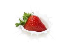 草莓牛奶飞溅 免版税库存照片