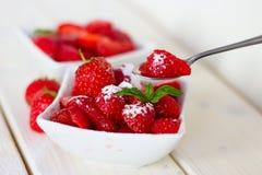 草莓用糖 库存照片