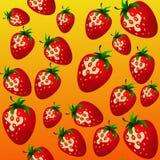 草莓的图象在一个混乱安排的 向量例证