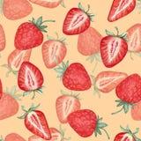 草莓的无缝的样式 额嘴装饰飞行例证图象其纸部分燕子水彩 免版税库存照片