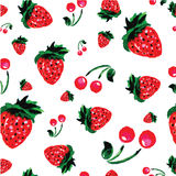 草莓背景,水彩样式,传染媒介例证 库存照片
