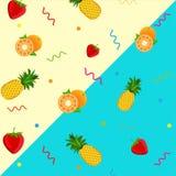草莓菠萝橙色样式背景 传染媒介果子 库存图片