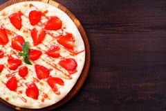 草莓薄饼食物背景 库存图片