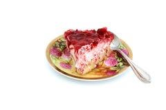 草莓蛋糕片断 免版税库存图片