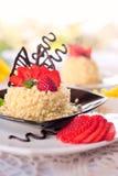 草莓蛋糕用巧克力 免版税图库摄影
