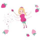 草莓逗人喜爱的童话传染媒介 免版税库存图片