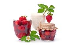 草莓酱和草莓与奶油 库存图片