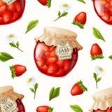 草莓酱无缝的样式 免版税库存图片
