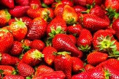 草莓食物背景。新鲜的成熟甜点 免版税库存图片