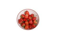 草莓,在小组的焦点在白色碗的草莓 免版税库存照片