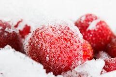 草莓,结冰为冰长的期间存贮  免版税库存图片