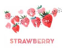 草莓水彩例证 免版税库存图片