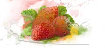 草莓水彩 库存照片