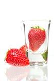 草莓玻璃 免版税库存图片