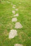 草路径向通过扔石头 免版税库存照片