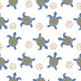 草龟装饰无缝的传染媒介样式 免版税库存照片