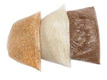 荞麦、米和豌豆在一个塑料袋 免版税图库摄影