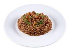 荞麦谷物蘑菇 免版税库存图片