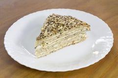荞麦饼可口片断充满乳酪和种子在上面在白色板材 库存图片