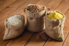 荞麦,米,在袋子的小米 免版税图库摄影