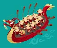 荡桨龙小船的中国孩子 向量例证