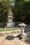 荣州市,韩国- 2014年10月15日:三层石塔 免版税库存照片