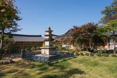 荣州市,韩国- 2014年10月15日:石塔在Buseoksa 免版税库存照片