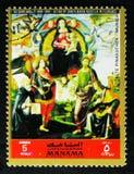荣耀的玛丹娜与圣徒,多梅尼科Ghirlandaio,从老Pinakothek,慕尼黑serie的绘画,大约1972年 库存照片