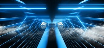 荧光的充满活力科学幻想小说烟霓虹激光太空飞船未来黑暗的走廊发光的蓝色具体难看的东西走廊的虚拟现实 向量例证
