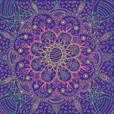 荧光的坛场背景 意想不到的几何花背景 也corel凹道例证向量 库存例证