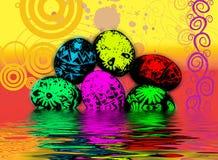 荧光的复活节彩蛋 库存图片