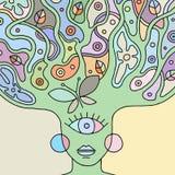 荧光的妇女面孔的传染媒介五颜六色的手拉的例证与抽象树,花,叶子,小点,蝴蝶,背景的 向量例证