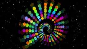 荧光的彩虹螺旋、多彩多姿的隧道在黑背景与小闪动的星和红色映象点小点 皇族释放例证
