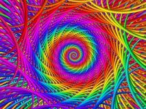 荧光的彩虹螺旋背景 免版税库存图片