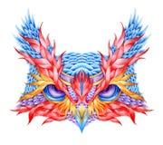 荧光的猫头鹰头纹身花刺 库存照片