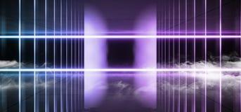 荧光的科学幻想小说烟霓虹激光太空飞船未来黑暗的走廊发光的蓝色紫色红色具体难看的东西走廊真正充满活力 库存例证