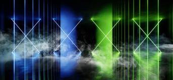 荧光的线科学幻想小说抽霓虹激光太空飞船未来黑暗的走廊发光的蓝绿色具体难看的东西走廊真正充满活力 库存例证