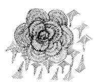 荧光的花的黑白例证 皇族释放例证